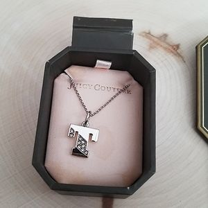 """Juicy Couture Silver """"T"""" Design Necklace in Box"""